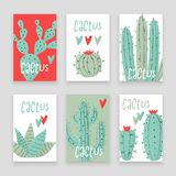 Cactus plant. Stipple concept with hearts Royalty Free Stock Photo