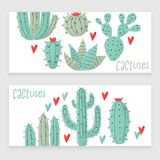 Cactus plant. Stipple concept with hearts Royalty Free Stock Photography