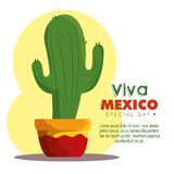 Cactus plant to traditional mexico event. Vector illustration royalty free illustration
