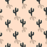 Cactus plant vector seamless pattern. Abstract cartoon blush color desert fabric print. Stock Image