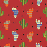 Cactus plant vector seamless pattern. Mexican style color cacti textile print. Stock Photos
