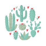 Cactus plant. Vector stipple concept with hearts Royalty Free Stock Images