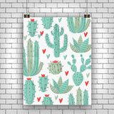 Cactus plant. Vector stipple concept with hearts Royalty Free Stock Photos