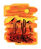 Cacti at sunset vector illustration