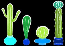 Cactus plants in flower pots. A set of cactus plants in flower pots with a night dark black background Royalty Free Stock Image
