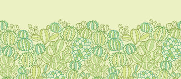 Cactus plants texture horizontal seamless pattern Stock Photography