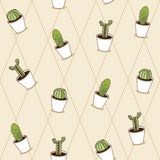 Cactus plants texture seamless pattern background Stock Photo
