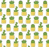 Cactus in pot and aloe succulent plants doodle seamless vector pattern. Cactus in pot and aloe succulent plants colorful cute doodle seamless vector pattern Stock Images