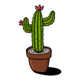 Cactus in pot illustration Royalty Free Stock Image