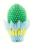 Cactus in a pot. Origami. Royalty Free Stock Photo