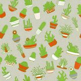 Cactus in a pot. Seamless background. Hand drawing. Vector illustration. royalty free illustration