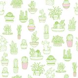 Cactus in a pot. Seamless background. Hand drawing. Vector illustration. vector illustration