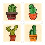 Cactus quatre dans un bac illustration de vecteur