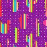 Cactus rayés décoratifs modernes dedans sur un fond de couleur illustration stock