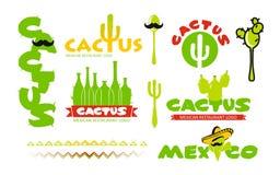 Cactus restaurant logo set Stock Photography