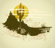 Cactus saguaro grunge background. Vector card. A southwest desert landscape of Saguaro cactus mountains and sky Stock Photography