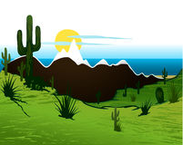 Cactus saguaro, mountains and river. Vector Royalty Free Stock Photos