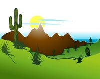 Cactus saguaro, Mountains and river. Vector. A southwest desert landscape of Saguaro cactus mountains and sky Royalty Free Stock Photo