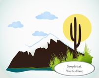 Cactus saguaro And Mountains. Vector card Royalty Free Stock Photo
