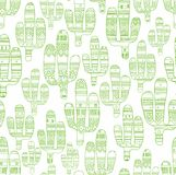 Cactus, seamless background, white. Vector seamless background with linear images of cacti. Green outline drawing on white background. Cacti decorated with Stock Photo