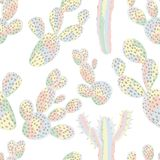 Cactus seamless pastel color. Cactus seamless pattern pastel color desert wallpaper on the white background Stock Image