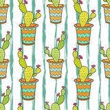 Cactus seamless pattern. Colorful cartoon flowers in pots. Vector background for wrapping, textile and package design. Cactus seamless pattern. Colorful cartoon stock illustration