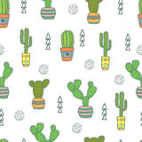 Cactus seamless pattern. Doodle colorful flowers in pots. Vector background with cute cactus stock illustration