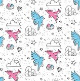 Cactus seamless pattern in kawaii doodle style vector illustration. Can be use as background, fabric printing etc royalty free illustration