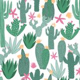 Cactus Seamless Pattern On White Background. Doodle Exotic Wallpaper. Royalty Free Stock Photography
