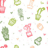 Cactus seamless pattern Print. Cute fashion fabric design for nursery or clothes Stock Image