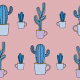Cactus seamless pattern vector illustration with pastel colors stock illustration