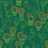 Green and orange cactus seamless repeating pattern stock illustration