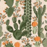 Cactus senza cuciture e fiori Fotografia Stock