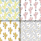Cactus set seamless pattern, vector illustration. Hand drawn cac Royalty Free Stock Images
