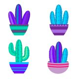 cactus set, succulents, home flowers, houseplants in pots isolated on white background vector illustration