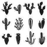 Cactus silhouette illustration set. On white background Stock Image
