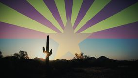 Cactus Silhouette Sunrise with Arizona Flag in Sky