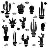 Cactus silhouettes illustrated. On white background Stock Illustration