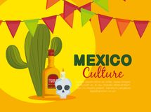 Cactus with skull and tequila to traditional event. Vector illustration royalty free illustration