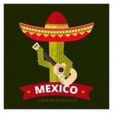 Cactus in sombrero royalty free illustration