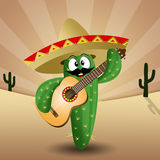 Cactus with sombrero and guitar Royalty Free Stock Photography