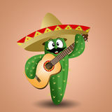 Cactus with sombrero and guitar Stock Photos