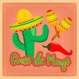 Cactus in sombrero hat Mexican maracas and chili peppers as a Me Royalty Free Stock Photo