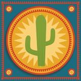Cactus on stylized background. Green cactus on blue and orange background Royalty Free Stock Photography