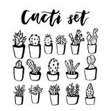 Cactus and succulent hand drawn set. Doodle flowers in pots. Vector colorful cute house interior plants Royalty Free Stock Image