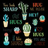 Vector cacti and hand-written lettering on black background. Royalty Free Stock Images