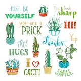 Vector cacti and hand-written lettering. Royalty Free Stock Photos