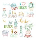 Vector outlined hand-drawn cacti and lettering on white backgrou Royalty Free Stock Photos
