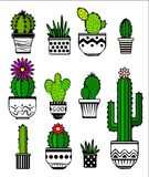 Cactus and succulent plants in pots. Vector Illustration of a set of colorful cactus and succulent Royalty Free Stock Images