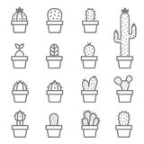 Cactus and Succulent vector icon set. Cactus icons in a flat style on a white background. Home plants cactus in pots and with flowers. A variety of decorative Royalty Free Stock Images